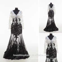 RP0170 2016 wholesale new model sexy sheer sequins lace pearl V neck long sleeve dress black and white masquerade prom dresses