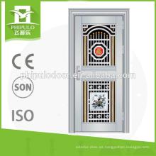 Protección contra la herrumbre exterior metal francés acero inoxidable puertas de seguridad