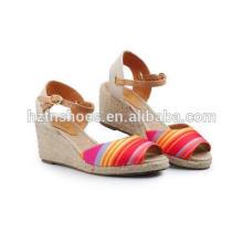 Новые летние простые красочные сандалии обувь дамы высокой пятки резиновые джута