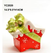 Caja de regalo pintada a mano de cerámica - forma de la estrella