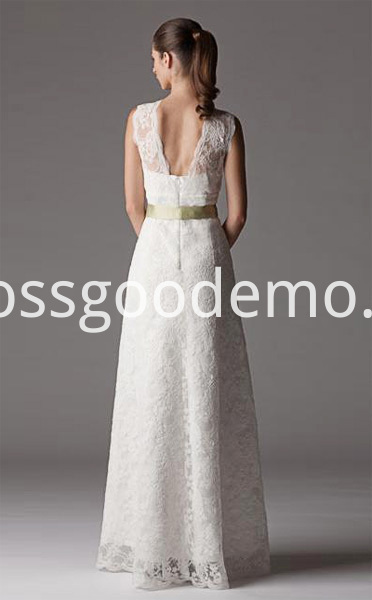 Sheath Column V Neck Floor Length Lace Wedding Dress