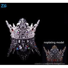 Новый дизайн полный круглый конкурс короны с красным кристалл мальчиков корону