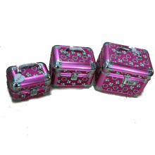 pink aluminum cosmetic case with handle