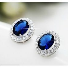 Fashion Inlaid Anti-Allergy Silver Earrings Jewelry