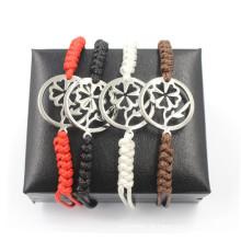 Coração quente de flores de presente de Natal encantos ajustam pulseira de couro
