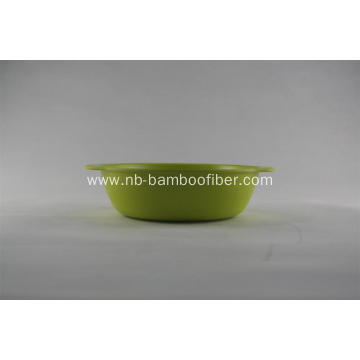 Bamboo fiber circular bowl with handle