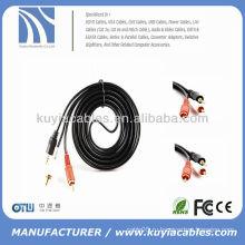 Черный 3м позолоченный кабель 3.5 мм 2rca