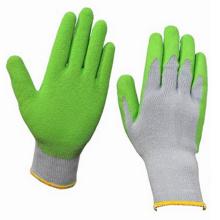 Gants de travail de sécurité au latex à revêtement vert bon marché