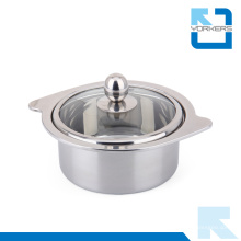 Forma elegante aço inoxidável pote quente e panela de cozinha com tampa de vidro