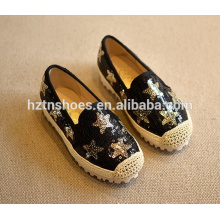 Glitter kids casual shoes sequin flat girls espadrille shoes with stars