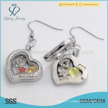 Designer openable heart shape crystal floating locket earrings with magnetic wholesale price