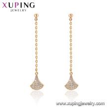96865 Xuping Mode Gold plattiert Quaste Drop Stein Ohrring für Frauen