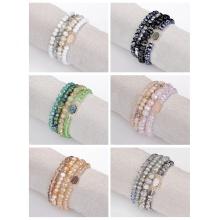 Bohemian Multi Layer Beaded Bracelets Versatile Stretch Strand Sparkly Crystal Beads Wrap Slip-on Cuff Bangle Set