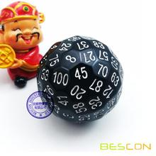 Bescon Polyhedral Dice 100 Sides Würfel, D100 sterben, 100 Sided Cube, D100 Game Dice, 100-seitig Cube von Black Color