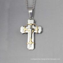 Unique design three cross pendant, stainless cross men's steel pendant