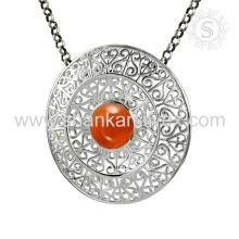 Nuevo espléndido colgante de piedra preciosa cornalina hecho a mano 925 joyas de plata esterlina Jaipur Joyería en línea