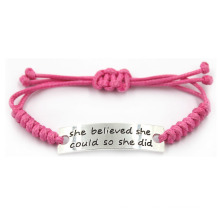 Linda rosa de aço inoxidável moda ajustável gravado pulseira inspirada para meninas