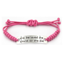 Прекрасный розовый нержавеющей стали моды регулируемый выгравированы вдохновляющие браслет для девочек
