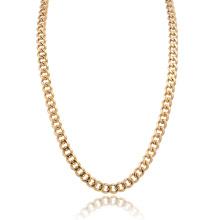 Collar de cadena de acera de acero inoxidable pulido 14K oro de los hombres de tamaño personalizado