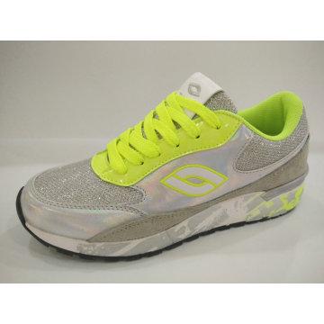 2016 limón zapatos de deporte brillantes de plata para las mujeres