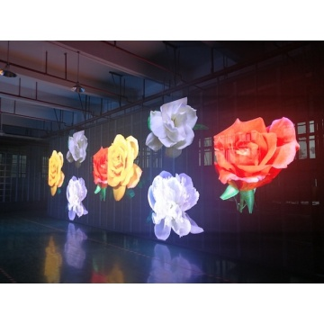 Pared led de transparencia interior y semi exterior creativa