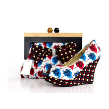 New Design African Printed High Heel Women Shoes with Bags (Y 64)