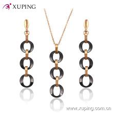 Xuping moda banhado a ouro círculos ovais jóias conjunto de cerâmica (63829) em jóias de aço inoxidável