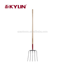 Garden Tools Wooden Long Handle Forged Manure Fork
