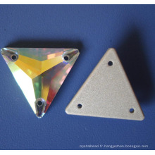 Crystal coudre sur les vêtements Pierre pansement accessoire dos plat avec 2 trous (3041-3070)