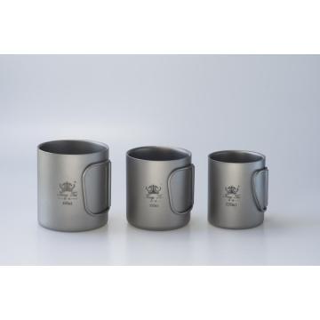 Taza de acero inoxidable Taza de camping Pote de mango plegable