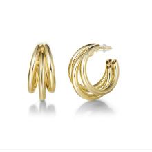 Custom Jewelry18k Gold Plated Earrings Stainless Steel Jewelry Open Tube Hoop Earrings