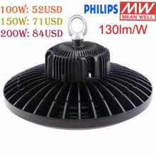 Lumière industrielle élevée de baie de l'éclairage UFO de puissance élevée de Philips SMD3030 100W / 150W / 200W UFO de Philips