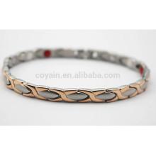 Hombres de oro rosa y plata de acero inoxidable de dos tonos pulsera de la cadena