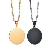 Custom Spuer Cheap Laser Engraving Round Disc Stainless Steel Jewelry Pendant Necklace