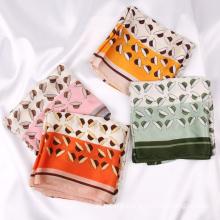 2021 New Custom Ladies Silk Feeling Bandana Fashion Printed 70cm Square Hair Scarf