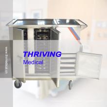 Chariot à essence à isolation thermique à l'hôpital en acier inoxydable