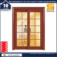 Wooden Interior Double Glass Sliding Wood Kitchen Door
