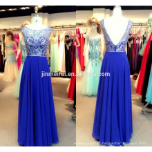 High Quality Real Sample Short Cap Sleeves Bateau Floor-Length Chiffon Sequins Beaded Royal Blue Prom Dresses Backless Prom Gown