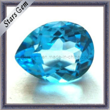 Hermoso azul suizo corte natural forma de pera piedra Topacio