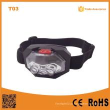 T03 1red LED + 2 LED plástico Headlight impermeável tocha exterior Camping Head 3 * bateria AAA farol LED