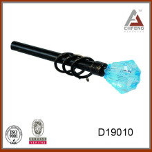 D19010 blue crystal curtain rod finials,decorative crystal glass curtain rod finials for curtain rods
