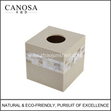 Sandstone Resin Tissue Paper Box with Shell Mosaic