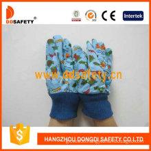 Garden Gloves. Blue Cotton. Printing Pattern Back (DGK516)