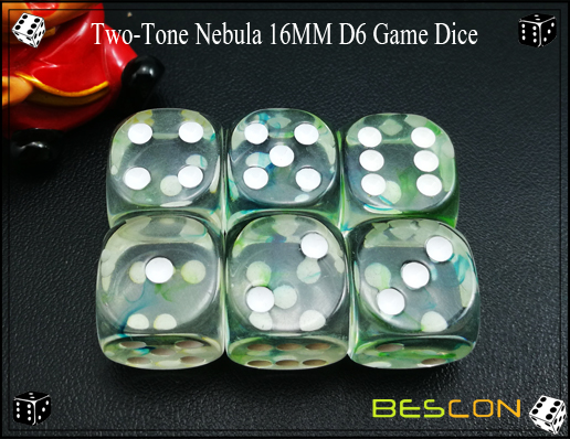 Two-Tone Nebula 16MM D6 Game Dice-11
