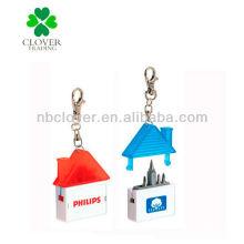 Mini destornillador de forma de casa con llavero y medida