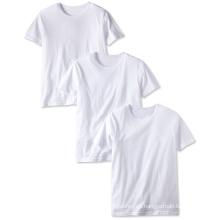 Nuevo diseño 100% algodón cuello redondo camiseta en blanco