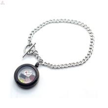 Нержавеющей стали 316L кубинский цепи браслет, плавающей кулон медальон из нержавеющей стали браслет ювелирных изделий