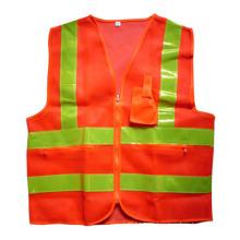 Оранжевый сетка карман на молнии высокая видимость безопасности Светоотражающий жилет (YKY2850)