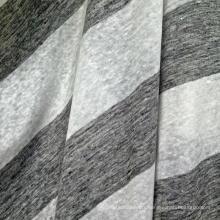 Tissu à rayures tricotées en lin pour t-shirt (QF14-1545-BS)