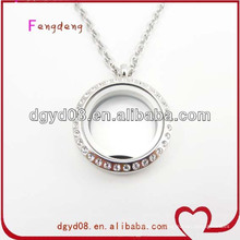Magnet open glass locket necklace